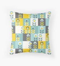Scandinavian flowers 02, yellow-gray-teal, retro pattern Floor Pillow