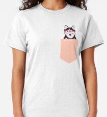 Kamri - Siberian Husky with Pink Hipster Glasses, Cute Retro Dog, Dog, Husky with Glasses, Funny Dog Classic T-Shirt