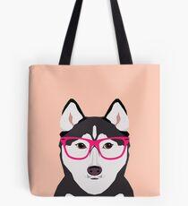 Bolsa de tela Kamri - Siberian Husky with Pink Hipster Glasses, Cute Retro Dog, Perro, Husky con gafas, Funny Dog