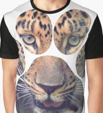 Leopard Eyes Paw Animal Cat Cheetah Lion Tiger Print Graphic T-Shirt