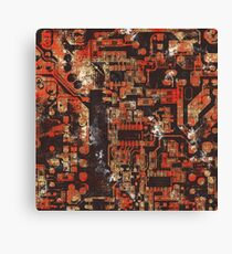 Electronic Chip Texture Urban Red Canvas Print