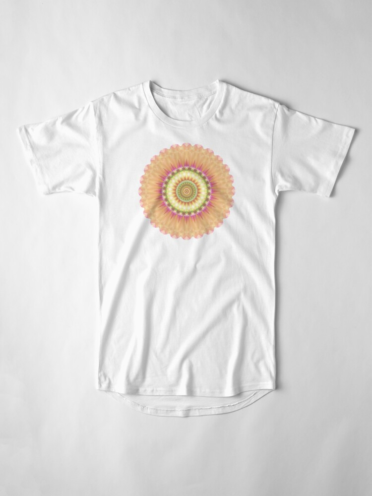Alternate view of Beauty Mandala 01 in Pink, Yellow, Green and White Long T-Shirt