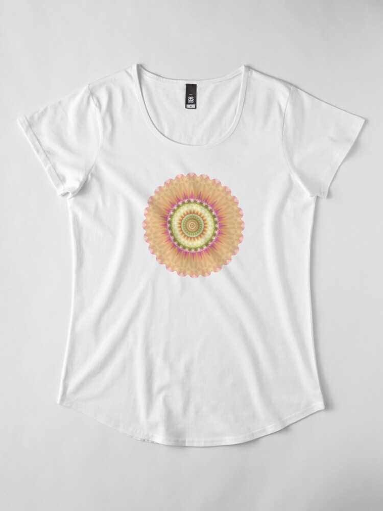 Alternate view of Beauty Mandala 01 in Pink, Yellow, Green and White Premium Scoop T-Shirt