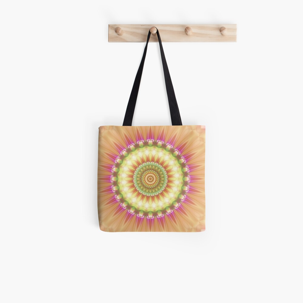 Beauty Mandala 01 in Pink, Yellow, Green and White Tote Bag