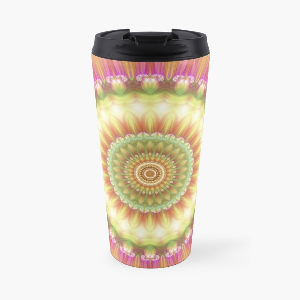 Beauty Mandala 01 in Pink, Yellow, Green and White Travel Mug