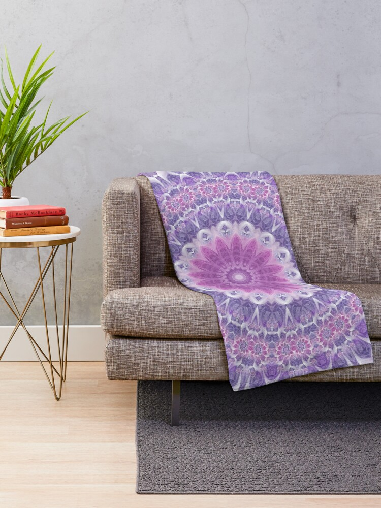 Alternate view of Purple and Pink Fractal Mandala Throw Blanket