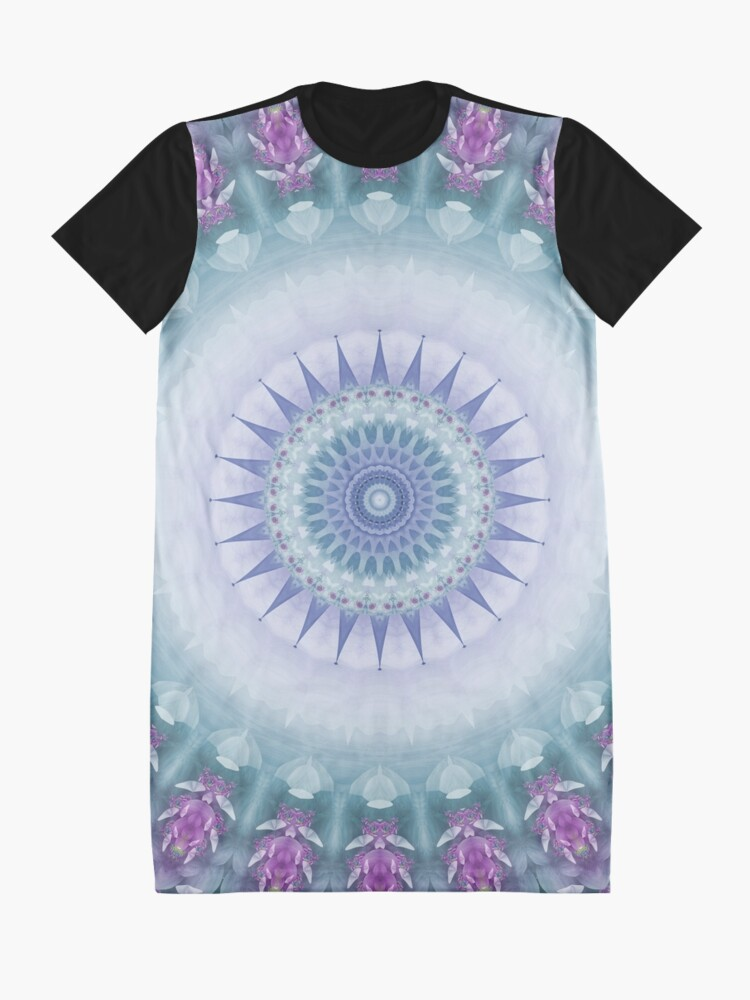 Alternate view of Violet Flowers Mandala in Purple, Blue, Green and White Graphic T-Shirt Dress