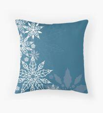 Christmas blue background Throw Pillow