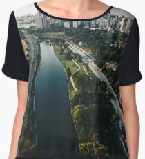 chicago aerial view of the skyline Women's Chiffon Top