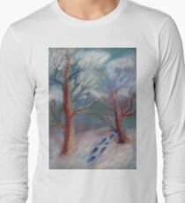 Winter in the technique of dry pastels Long Sleeve T-Shirt