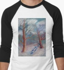 Winter in the technique of dry pastels Men's Baseball ¾ T-Shirt