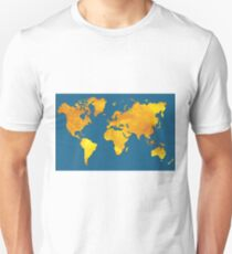Blue and Gold Map of The World - World Map for your walls T-Shirt