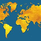 Blue and Gold Map of The World - World Map for your walls by DejaVuStudio