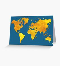 Blue and Gold Map of The World - World Map for your walls Greeting Card
