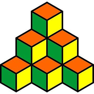 Geometric Blocks - Green, Orange and Yellow by Artberry