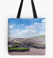 slimey green mud banks at Beal beach Tote Bag