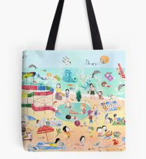 Wimmelbild Sommer am Strand Tote Bag