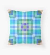 Bright Blue Plaid Geometric Throw Pillow