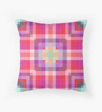 Bright Pink Modern Plaid Geometric Throw Pillow