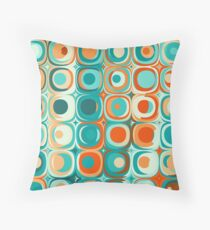 Turquoise and Orange Dots Throw Pillow