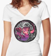Tribal Mew Women's Fitted V-Neck T-Shirt