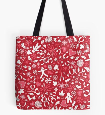 Mistletoe and Gingerbread Ditsy - Red, white and pink - Christmas pattern by Cecca Designs Tote Bag