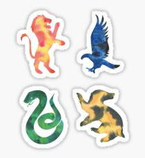 House Lion Snake Eagle Badger Watercolor Sticker
