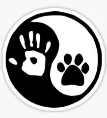 YIN YANG HAND PAW - Dog Lover Gifts Sticker
