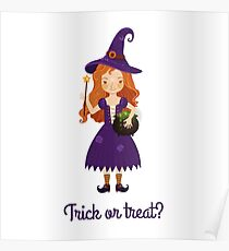 Little witch with a pot of potions. Poster