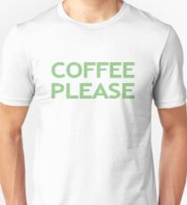 COFFEE PLEASE - strips - green and white. T-Shirt