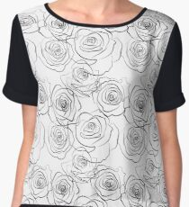 Black and wite roses pattern Women's Chiffon Top