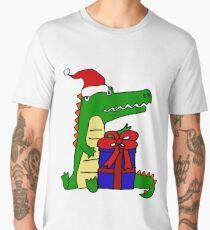 Cool Funny Crocodile Christmas Cartoon Men's Premium T-Shirt