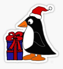 Funny penguin with Christmas Gifts Cartoon Sticker