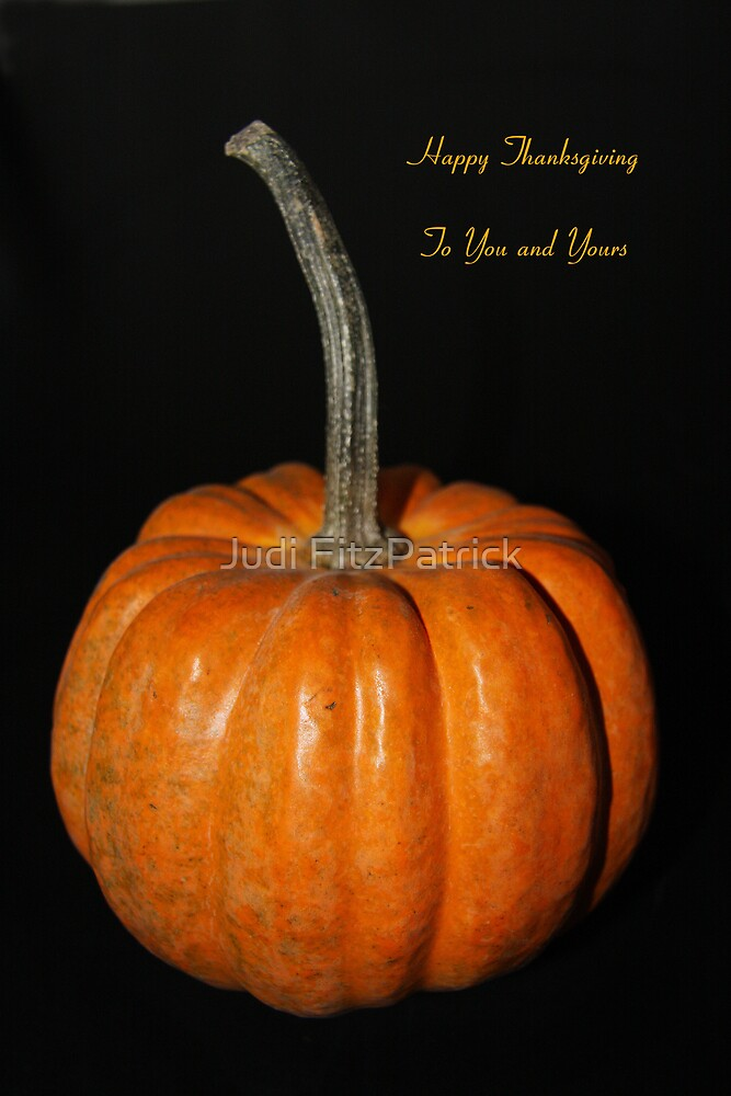 Single Pumpkin with Greeting by Judi FitzPatrick