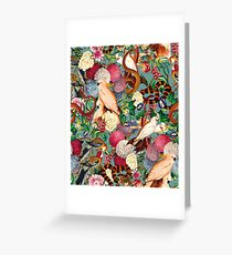 Floral and Animals pattern Greeting Card