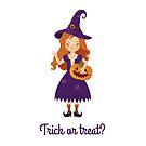 Eine kleine Hexe mit einem Jack-Kürbis. von Elsbet
