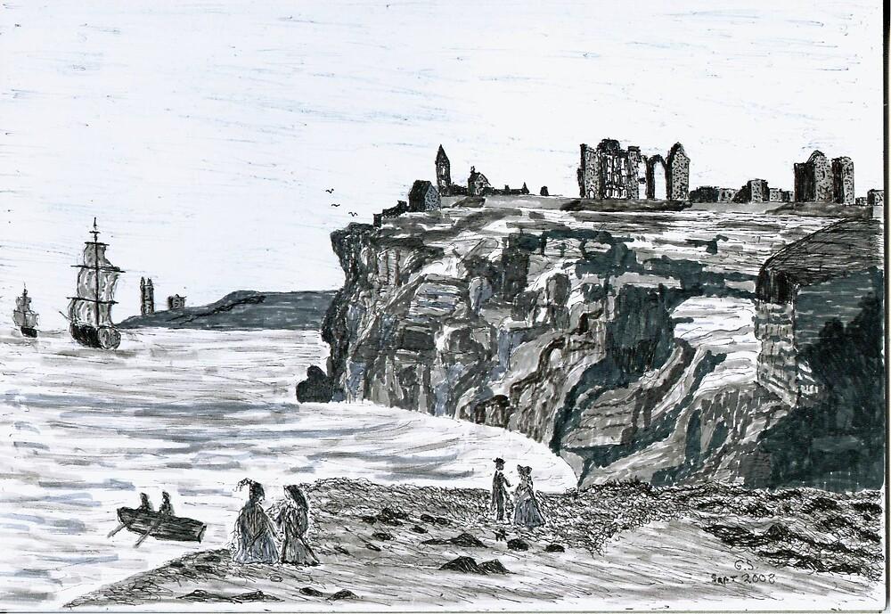 Tynemouth Castle & Priory circa 1700 AD by GEORGE SANDERSON
