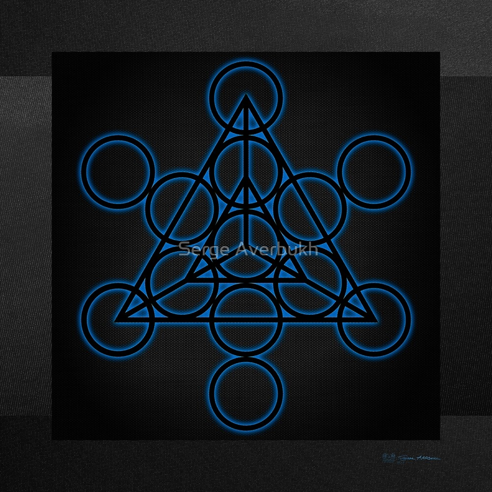 Sacred Geometry - Black Tetrahedron with Blue Halo over Black Canvas by Serge Averbukh