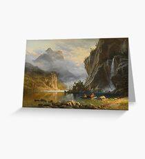 Indians Spear Fishing by Albert Bierstadt Greeting Card