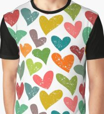 Hearts grunge pattern, colorful illustration Graphic T-Shirt