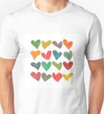 Hearts grunge pattern, colorful illustration T-Shirt