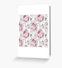Watercolor Pink Peonies Pattern Greeting Card