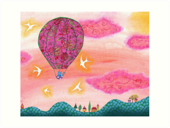 Cute Cat in a Pink Hot Air Balloon by Sukilopi