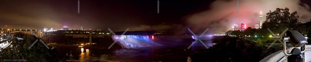 Niagara Falls at Night - Panorama by Zohar Lindenbaum
