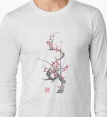 Chinese plum tree blossom sumi-e painting Long Sleeve T-Shirt
