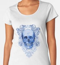 Blue Ornate Skull Women's Premium T-Shirt