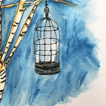 birdcage watercolor by kimtangdesign