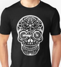 Vintage Mexican Skull with Bicycle - white on black T-Shirt