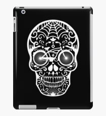 Vintage Mexican Skull with Bicycle - white on black iPad Case/Skin