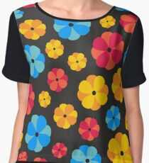 Bright floral print on a black background Women's Chiffon Top